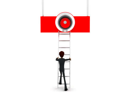 reach: 3d man climb ladder to reach loud speaker concept on white background - 3d rendering,  front angle view