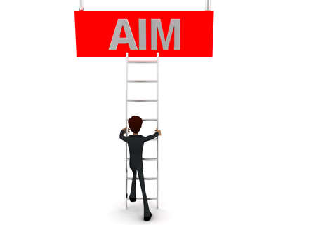 reach: 3d man climb ladder to reach  AIM text  concept on white background - 3d rendering, front angle view