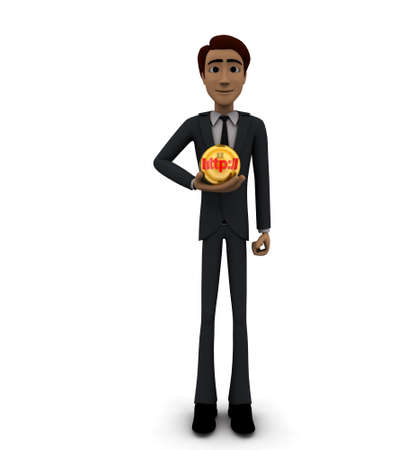 http: 3d man holding sphere with HTTP text on it concept on white background - 3d rendering , front angle view