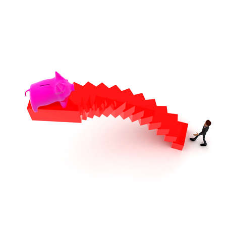upwards: 3d man walking upwards to piggy bank  with the help of stairs concept in white isolated background ,  top angle view