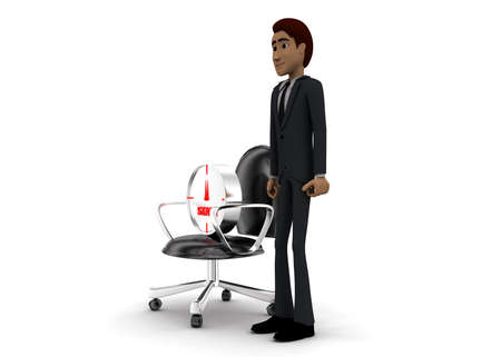 stop watch: 3d man presenting stop watch on moving chair concept on white background - 3d rendering, side angle view Stock Photo