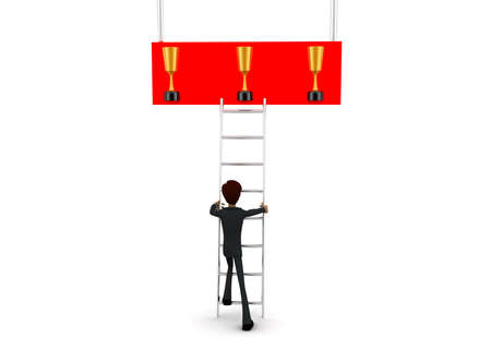 reach: 3d man climb ladder to reach at golden award cup concept on white background - 3d rendering, front angle view Stock Photo