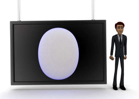 guy standing: 3d man standing near a  screen and a circular logo revealer displaying on it concept on white background - 3d rendering, front angle view Stock Photo