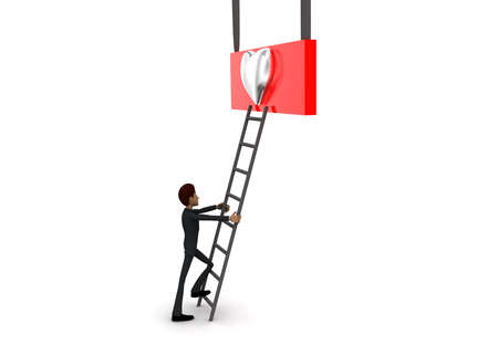 reach: 3d man climb ladder to reach silver HEART symbol concept on white background - 3d rendering, side angle view Stock Photo