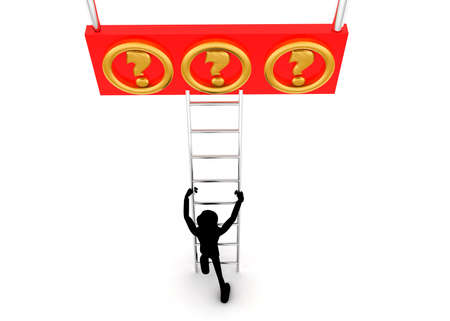 reach: 3d man climb ladder to reach question mark concept on white background - 3d rendering, top angle view Stock Photo