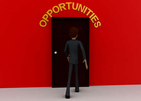 towards: 3d man walking towards door and OPPORTUNITY written on top of it concept on white background - 3d rendering, front angle view