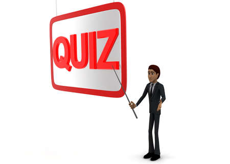 point of view: 3d man holding  stick in hand and point at presentation board with stick at QUIZ text concept on white background - 3d rendering, side angle view Stock Photo
