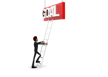 reach: 3d man climb ladder to reach GOAL text  concept on white background - 3d rendering, side angle view