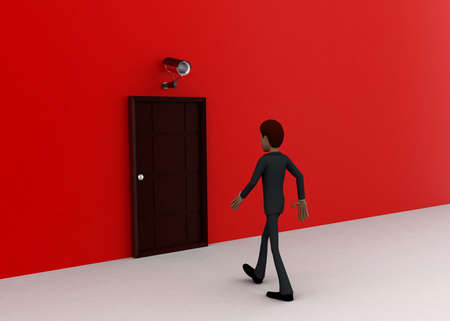 towards: 3d man walking towards door and security cctv camera looking him concept on white background - 3d rendering, front angle view