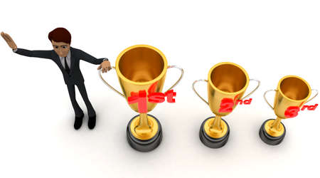 2nd: 3d man with 1st, 2nd and 3rd award cups concept on white background - 3d rendering , top angle view