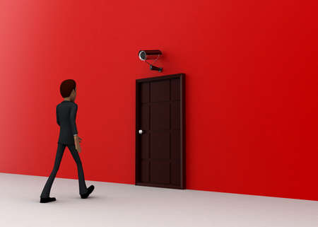 towards: 3d man walking towards door and security cctv camera looking him concept on white background - 3d rendering, side angle view