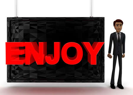 guy standing: 3d man standing near a screen and enjoy text displaying on it concept on white background - 3d rendering, front angle view Stock Photo