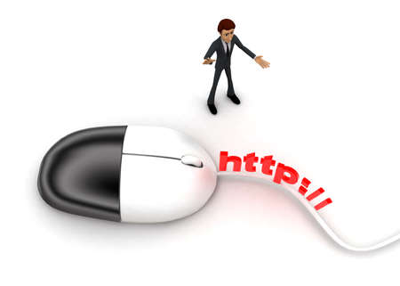 http: 3d man with computer wired mouse and HTTP text on wire concept on white background - 3d rendering, top angle view Stock Photo