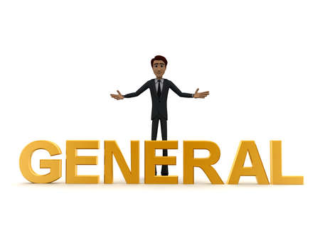 general: 3d man welcome and with golden GENERAL text concept on white background - 3d rendering , front angle view