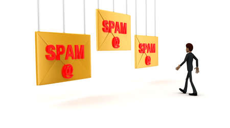 towards: 3d man walking towards spam -text mail letter concept on white background - 3d rendering ,  side angle view Stock Photo