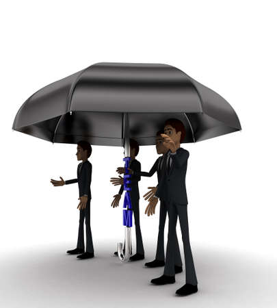 under view: 3d men under umbrella with team text concept on white background - 3d rendering , side angle view