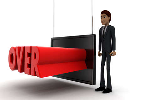 screening: 3d man standing near a screen and OVER text displaying on it concept on white background - 3d rendering, side angle view
