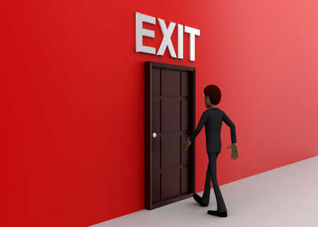 towards: 3d man walking towards door and EXIT written on top of it concept on white background - 3d rendering, side angle view