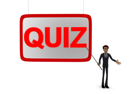 point of view: 3d man holding  stick in hand and point at presentation board with stick at QUIZ text concept on white background - 3d rendering, front angle view Stock Photo
