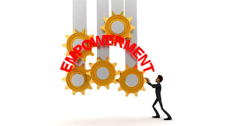 empowerment: 3d man with EMPOWERMENT text and mechanical gear system concept on white background - 3d rendering , front angle view