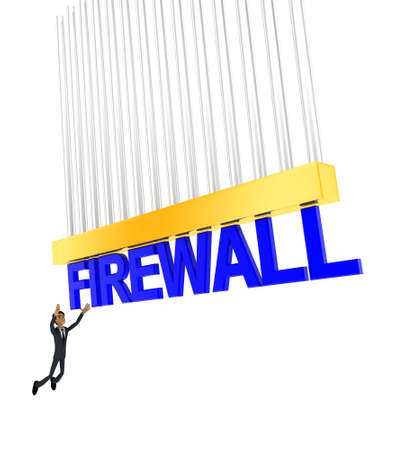 grab: 3d man about to grab FIREWALL text concept on white background - 3d rendering , side angle view