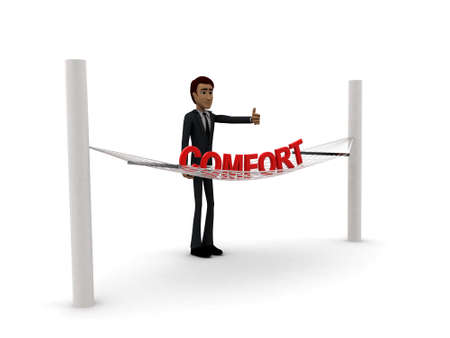 comfort: 3d man standing waving hand and COMFORT text on weaver concept on white background - 3d rendering , side angle view Stock Photo