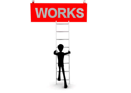 reach: 3d man climb ladder to reach  WORKS text concept  on white background - 3d rendering, front angle view Stock Photo