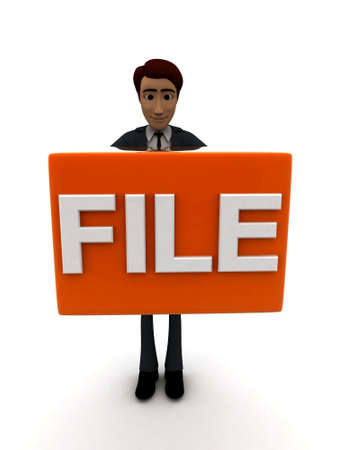 file box: 3d man holding  red box and FILE text text on it  concept on white background - 3d rendering , front angle view Stock Photo