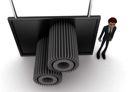 screening: 3d man standing near a  screen and  gears displaying on it concept on white background - 3d rendering, top angle view