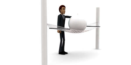 located: 3d man looking at sphere located on weaver concept in white isolated background - 3d rendering , side angle view