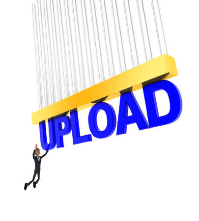 grab: 3d man about to grab UPLOAD text concept on white background - 3d rendering , side angle view
