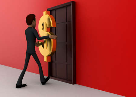 towards: 3d man walking towards door with golden dollar holding hands concept on white background - 3d rendering, close angle view Stock Photo