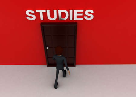 towards: 3d man walking towards door and STUDIES written on top of it concept on white background - 3d rendering, top angle view