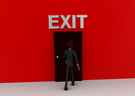 wrote: 3d man walking towards door and EXIT written on top of it concept on white background - 3d rendering, front angle view