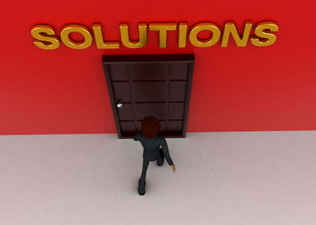 towards: 3d man walking towards door and SOLUTIONS written on top of it concept on white background - 3d rendering, top angle view Stock Photo
