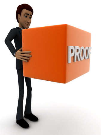 proof: 3d man holding  red box and PROOF text on it  concept on white background - 3d rendering , side angle view Stock Photo