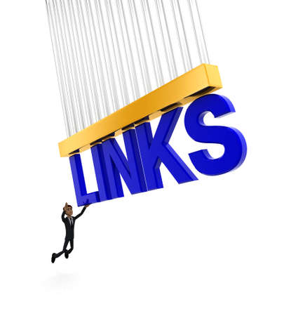 grab: 3d man about to grab LINKS text concept on white background - 3d rendering , side angle view Stock Photo