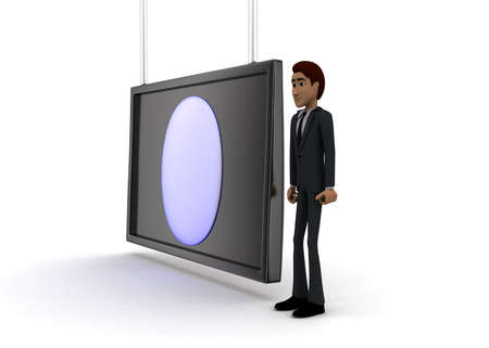 screening: 3d man standing near a  screen and a circular logo revealer displaying on it concept on white background - 3d rendering, side angle view