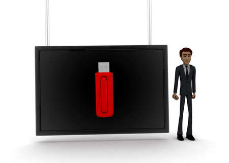 pen drive: 3d man standing near a  screen and a pen drive displaying on it concept on white background - 3d rendering, front angle view