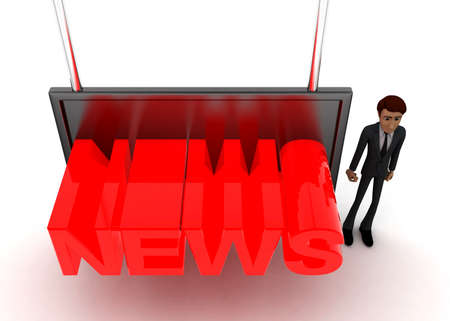 screening: 3d man standing near a  screen and news text displaying on it concept on white background - 3d rendering, top angle view