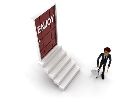 enjoy: 3d man standing outside enjoy  door holding keys concept on white background - 3d rendering , top angle view