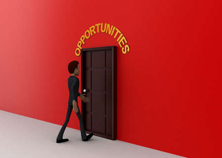 towards: 3d man walking towards door and OPPORTUNITY written on top of it concept on white background - 3d rendering, side angle view Stock Photo