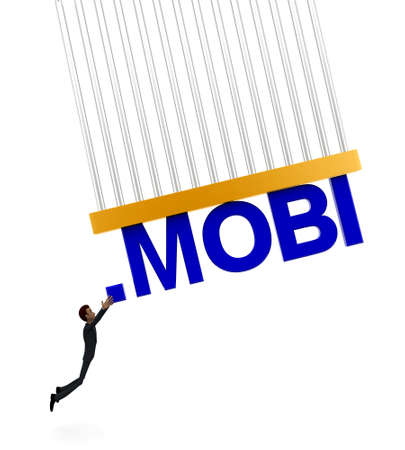 grab: 3d man about to grab .MOBI text concept on white background - 3d rendering , front angle view Stock Photo