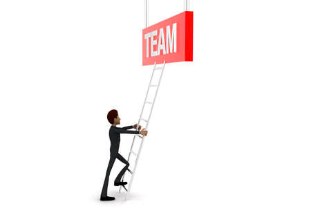 reach: 3d man climb ladder to reach  TEAM text concept on white background - 3d rendering, side angle view