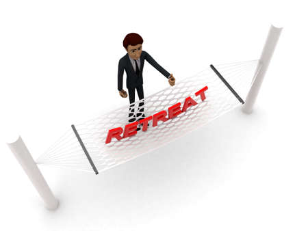 retreat: 3d man standing waving hand and RETREAT text on weaver concept on white background - 3d rendering , top angle view