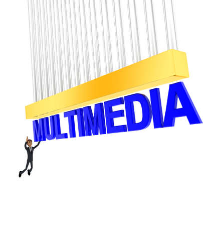 grab: 3d man about to grab MULTIMEDIA text concept on white background - 3d rendering , side angle view