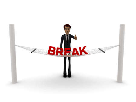 guy standing: 3d man standing waving hand and BREAK text on weaver concept on white background - 3d rendering , front angle view