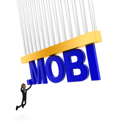 grabbing: 3d man about to grab .MOBI text concept on white background - 3d rendering , side angle view