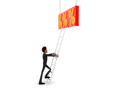 reach: 3d man climb ladder to reach  percentage symbol concept on white background - 3d rendering, side angle view