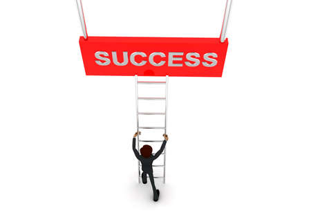 reach: 3d man climb ladder to reach  SUCCESS text concept on white background - 3d rendering, top angle view